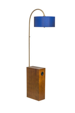 a custom luxury floor lamp finished in brushed brass and wood veneer