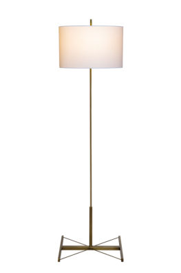 a custom luxury floor lamp finished in vintage brass